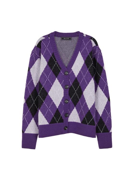 Argyle Jacquard Cardigan in Purple_VK9AD0750