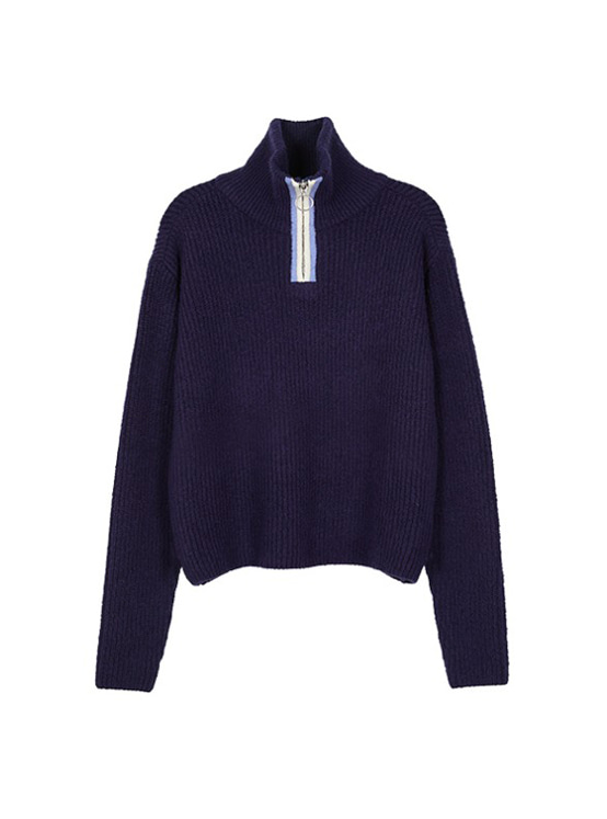 Zip Up Cropped Knit in Navy_VK9AP0730