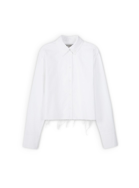 Raw Cropped Shirt in White_VW9AB0420