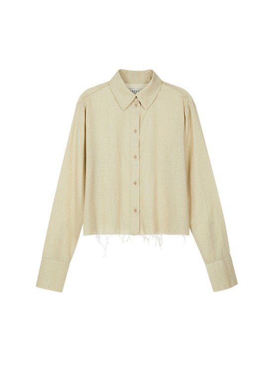 Raw Cropped Shirt in Beige_VW9AB0420