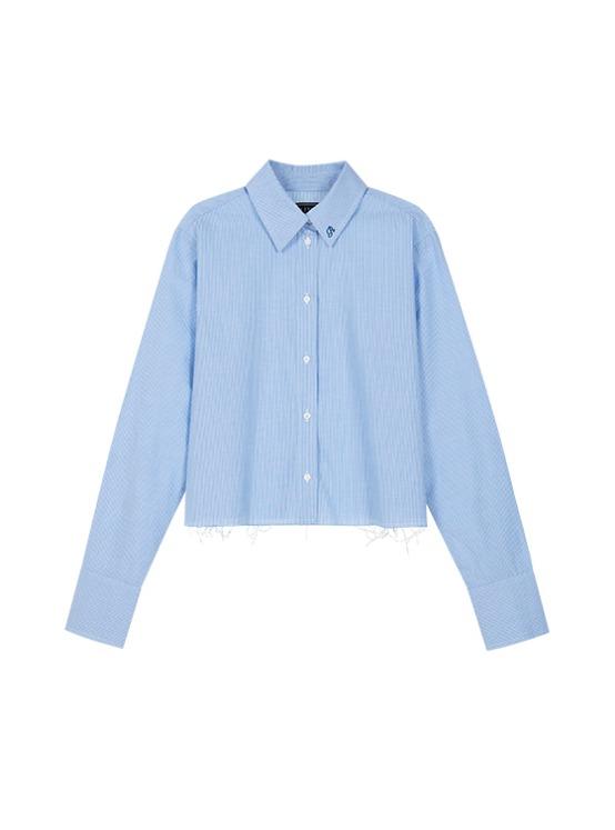 Raw Cropped Shirt in Stripe_VW9AB0420