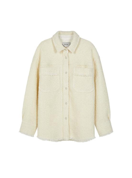 Oversized Tweed Shirt Jacket in White_VW9AJ0410