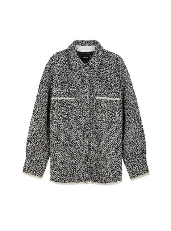 Oversized Tweed Shirt Jacket in Black_VW9AJ0410