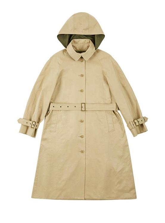 Single Button Hood Trench Coat in Beige_VW9AR0480