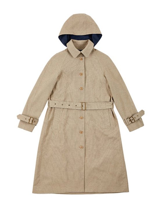 Single Button Hood Trench Coat in Check_VW9AR0480
