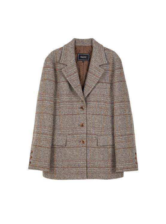 Wool Oversized Single Jacket in Brown_VW9AJ0520