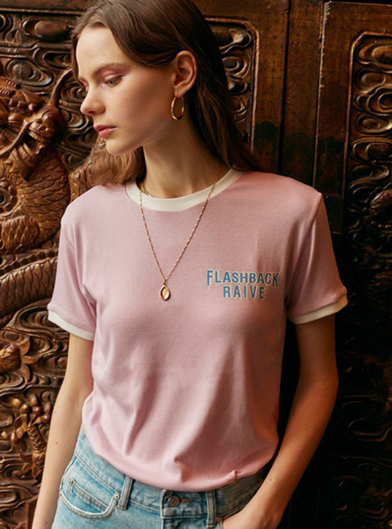 Flashback Ringer Tee in Pink_VW9SE0230