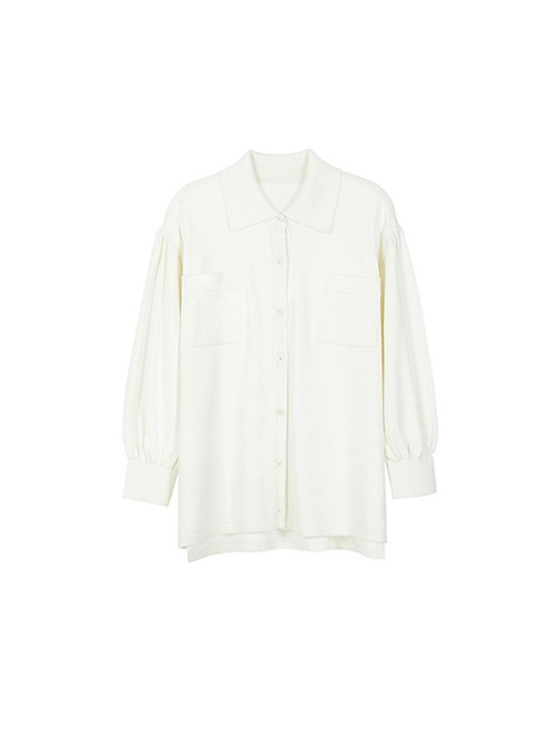 Loosefit Shirt Knit in Ivory_VK9SB0150