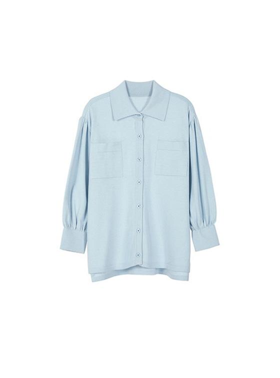 Loosefit Shirt Knit in S/Blue_VK9SB0150
