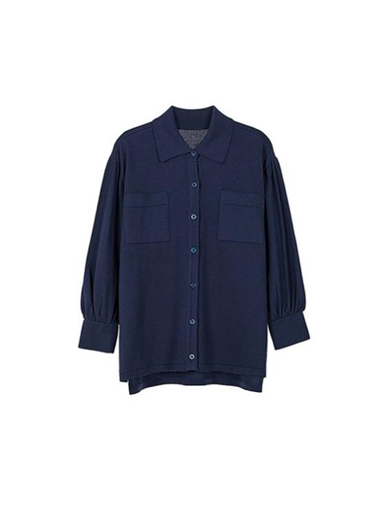 Loosefit Shirt Knit in Navy_VK9SB0150