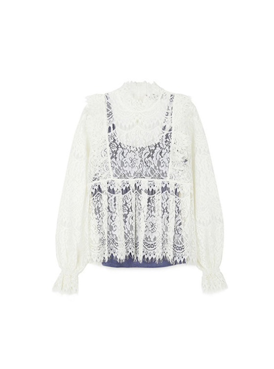 Frill Lace Shirt in White_VW9SB0050