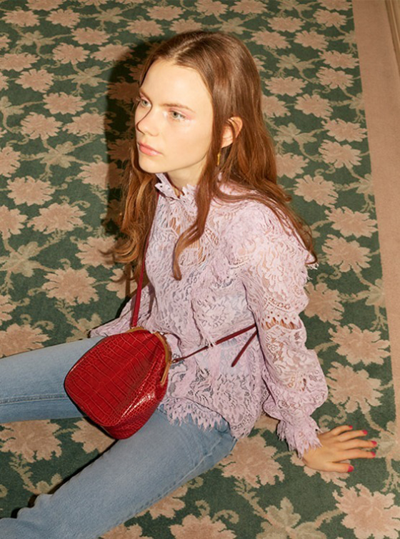 Frill Lace Shirt in L/Purple_VW9SB0050