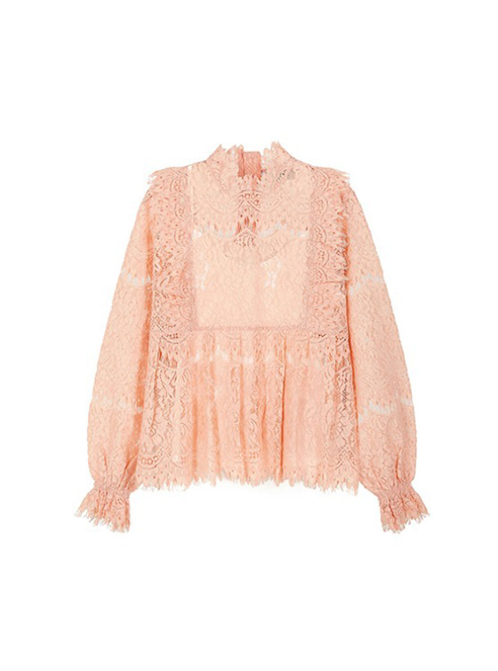 Frill Lace Shirt in Salmon_VW9SB0050