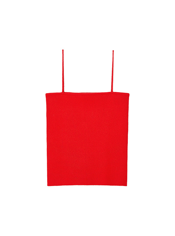 Ribbed Knit Camisole in Red_VK9MP0930