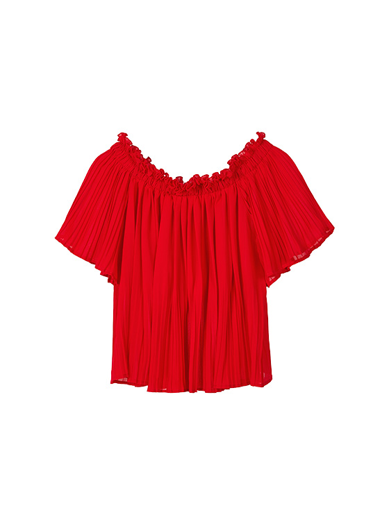 Off the Shoulder Pleated BL in Red_VW9MB0900