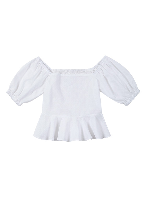 Square Puff Sleeve BL in Ivory_VW9MB0330