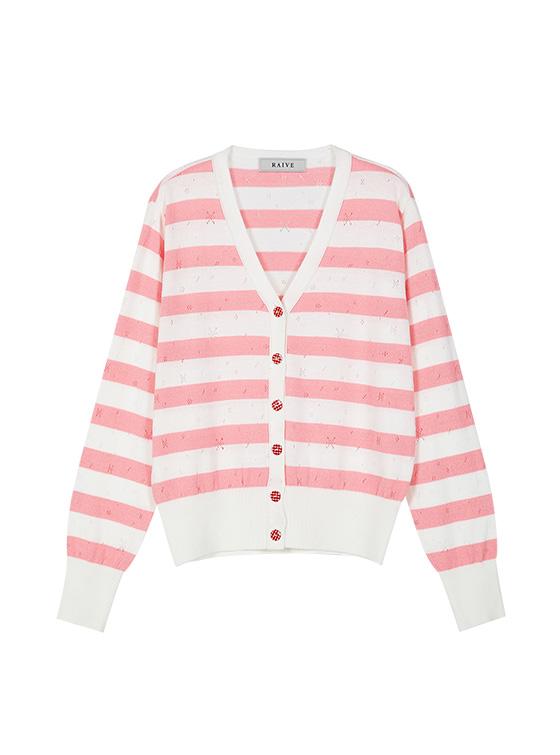 Pastel Stripe Knit Cardigan in Pink_VK9MD0310