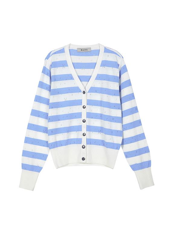 Pastel Stripe Knit Cardigan in S/Blue_VK9MD0310
