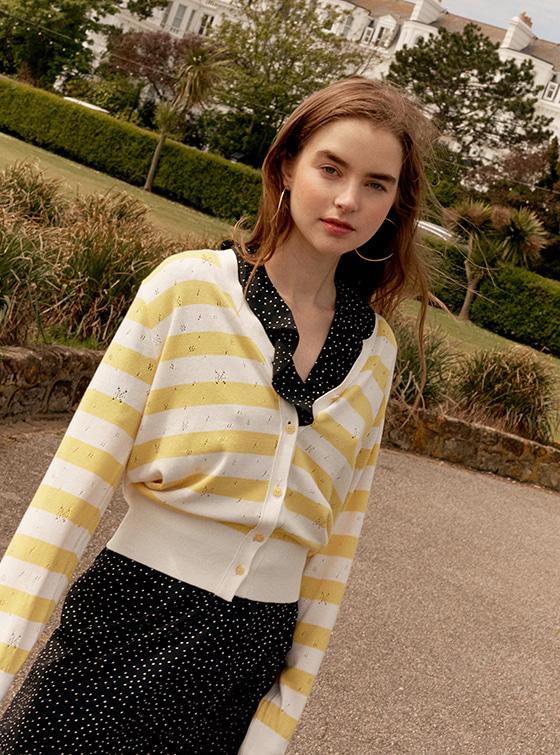 Pastel Stripe Knit Cardigan in Yellow_VK9MD0310