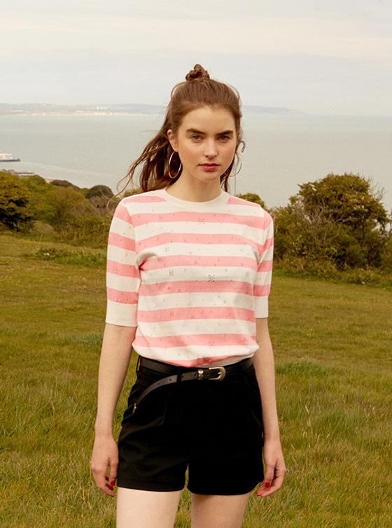 Pastel Stripe Knit Top in Pink_VK9MP0300