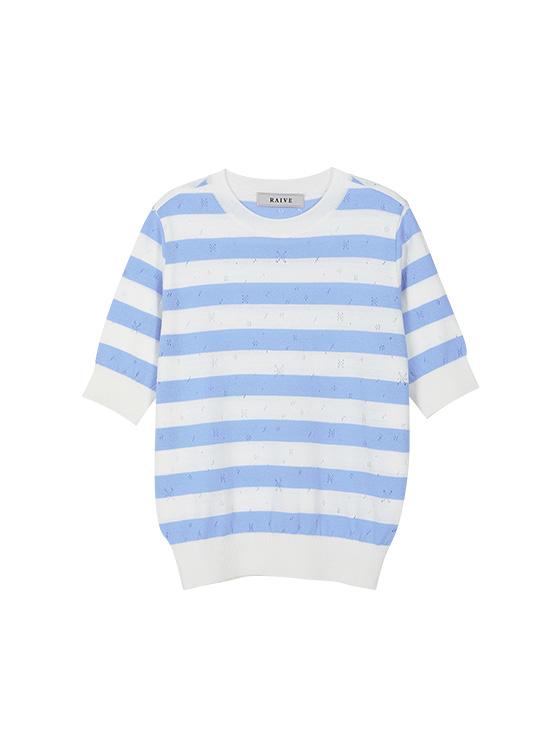 Pastel Stripe Knit Top in S/Blue_VK9MP0300