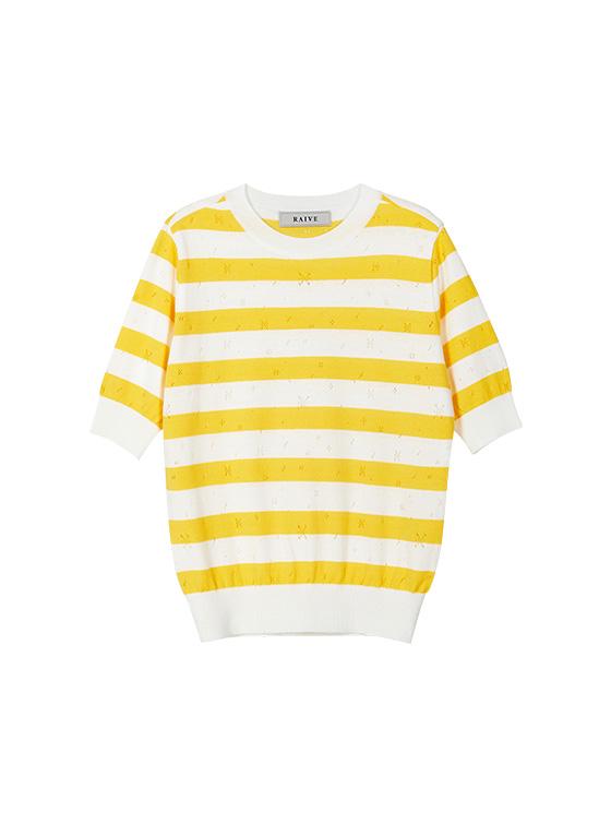 Pastel Stripe Knit Top in Yellow_VK9MP0300