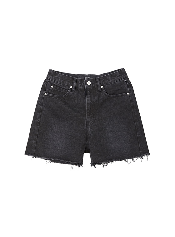 Slim High Waist Denim Shorts in Black_VJ9ML0350