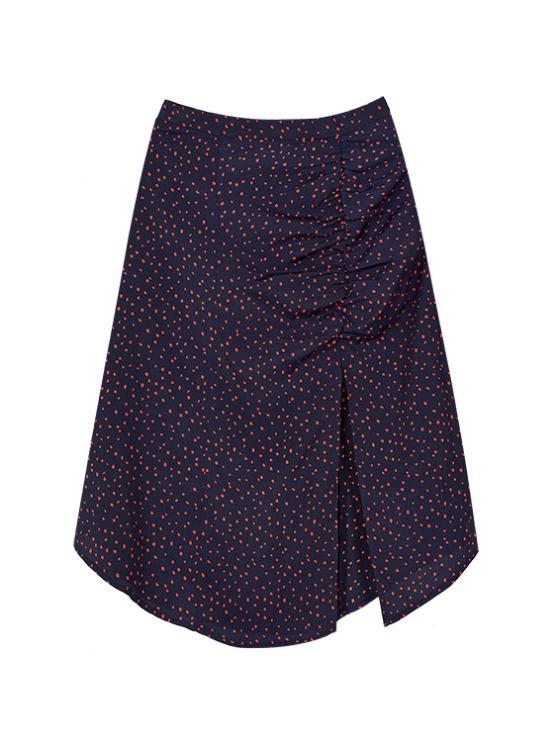 Shirring Midi Skirt in Navy_VW9AS0620