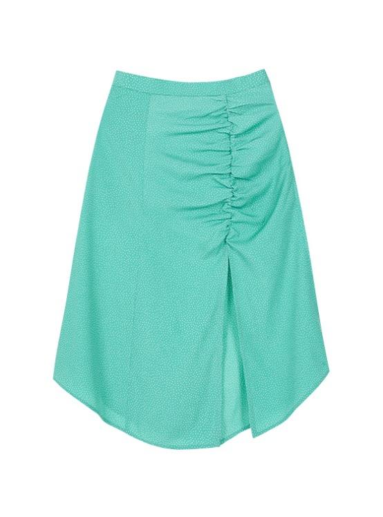Shirring Midi Skirt in Green_VW9AS0620