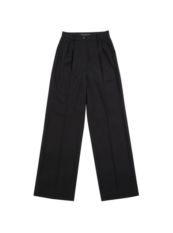 Pintuck Wide Slacks in Black_VW9AL0510