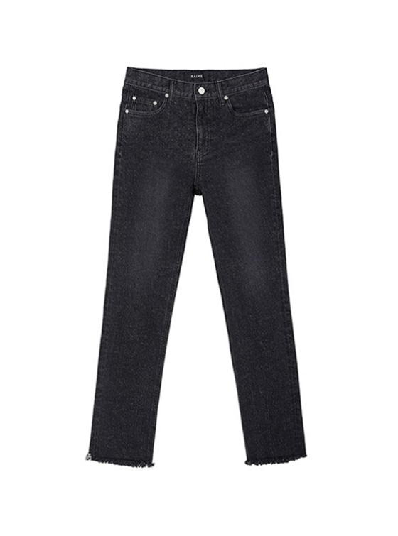 Straight High Waist Jeans in Black_VJ9SL0090