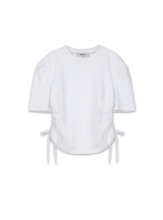 Puff Sleeve Shirring Tee in White_VW9AE0820