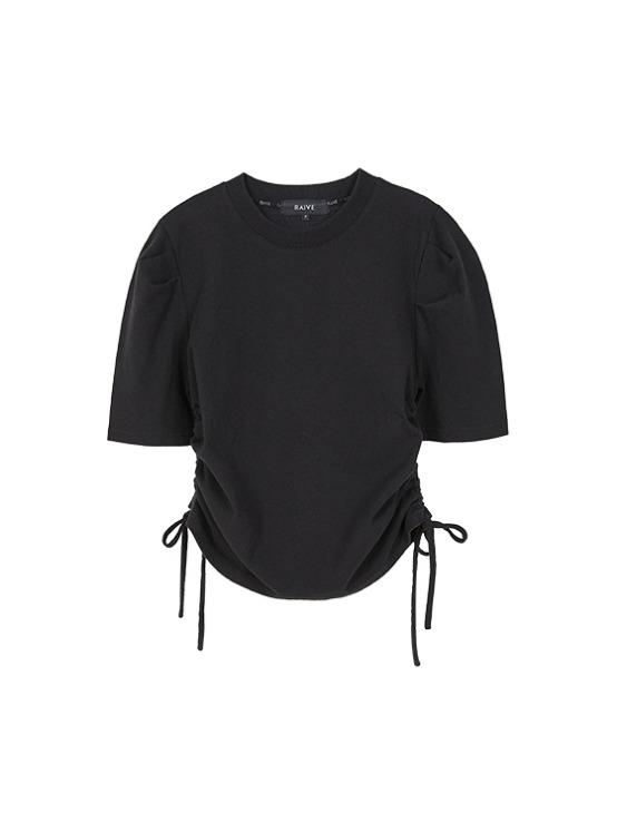 Puff Sleeve Shirring Tee in Black_VW9AE0820