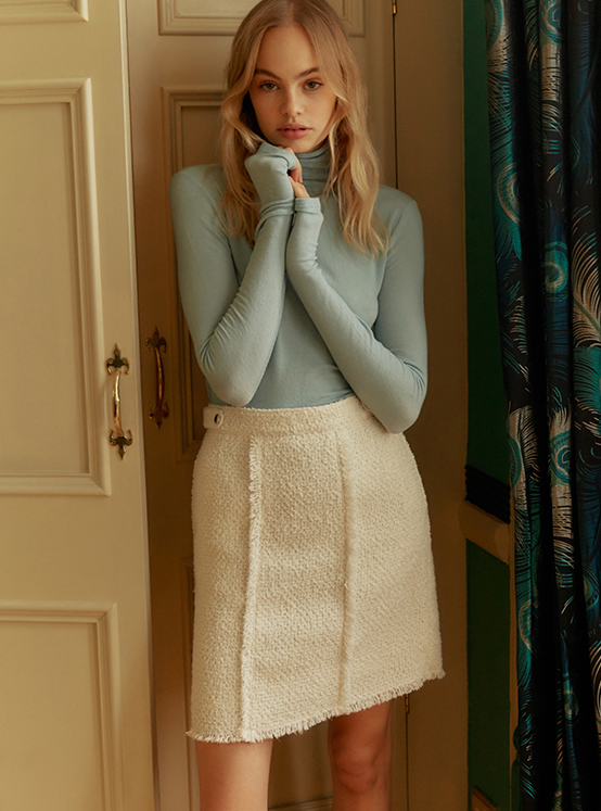 Tweed Mini Skirt in White_VW9WS0440
