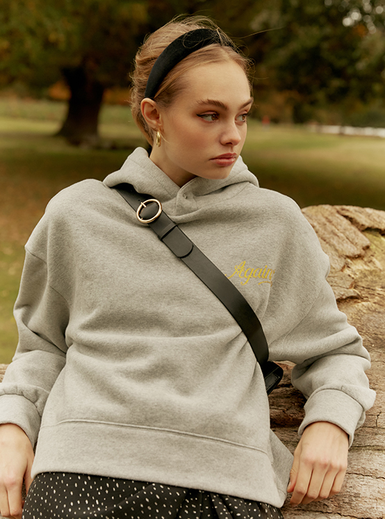 Snap Button Hoodie in M/Grey_VW9WE0840