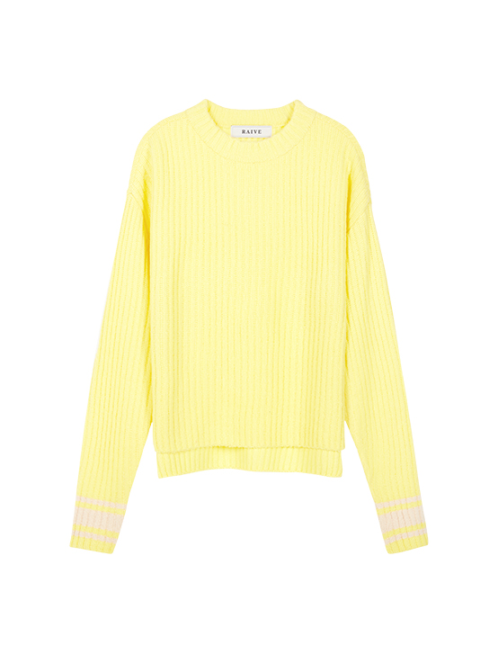 Acrylic Tam High Neck Knit in Yellow_VK9WP0770