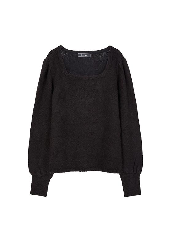 Square Neck Soft Knit in Black_VK9WP0780