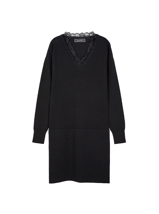 Lace Knit One piece in Black_VK9WO0760