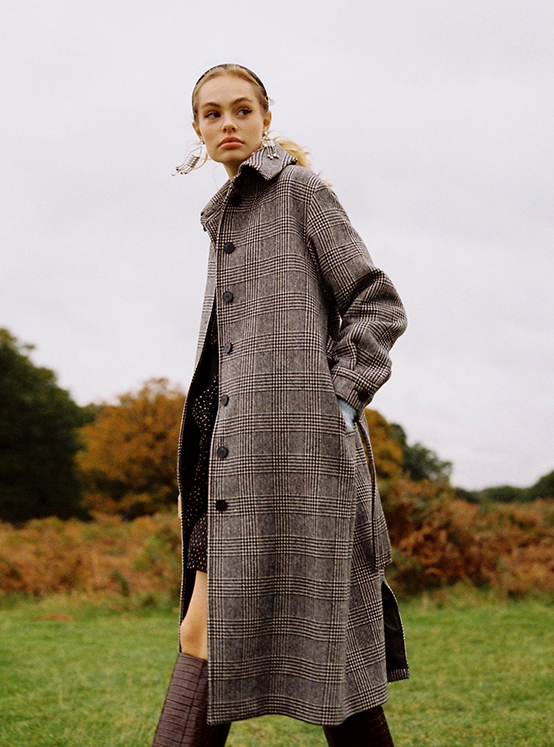 Hound Tooth Single Maxi Coat in Check_VW9WH0530