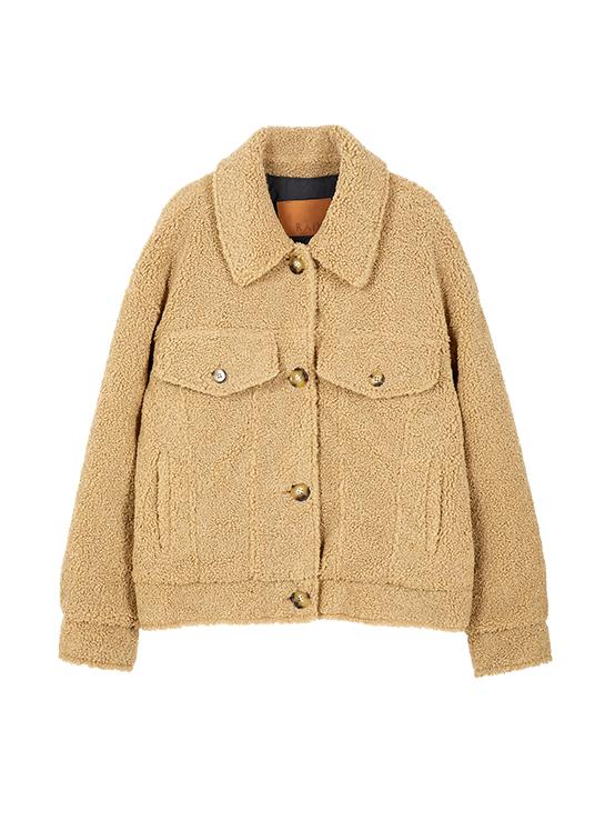 Teddy Bear Jacket in Beige_VW9WJ0560