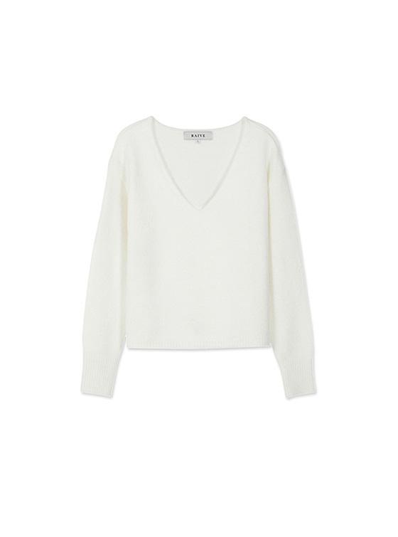 Textured V Neck Knit in White_VK8WP0500