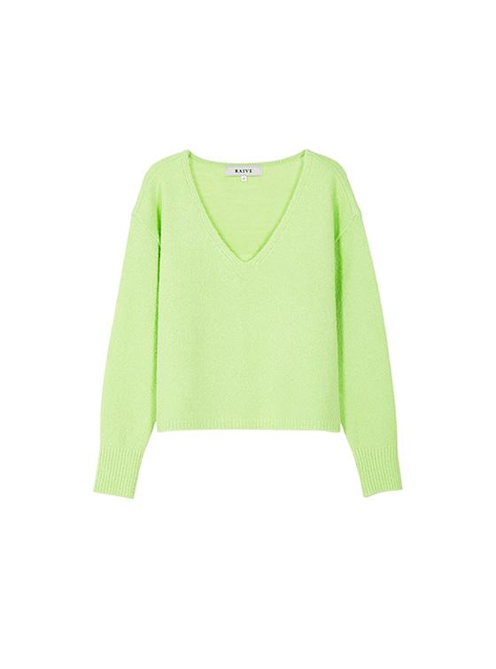 Textured V Neck Knit in L/Green_VK8WP0500