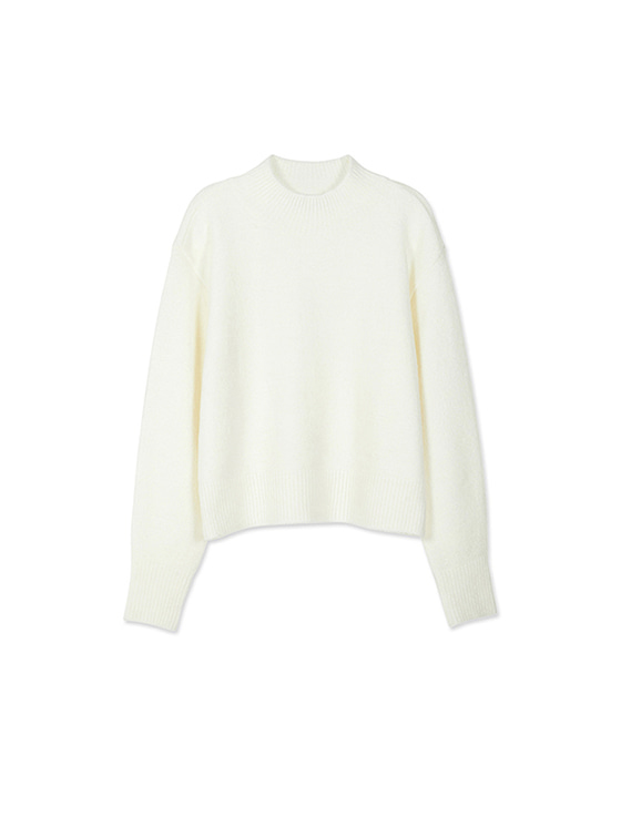 Oversized High Neck Knit in White_VK8WP0510