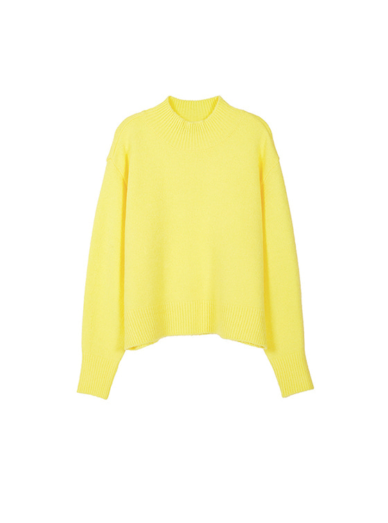 Oversized High Neck Knit in Yellow_VK8WP0510