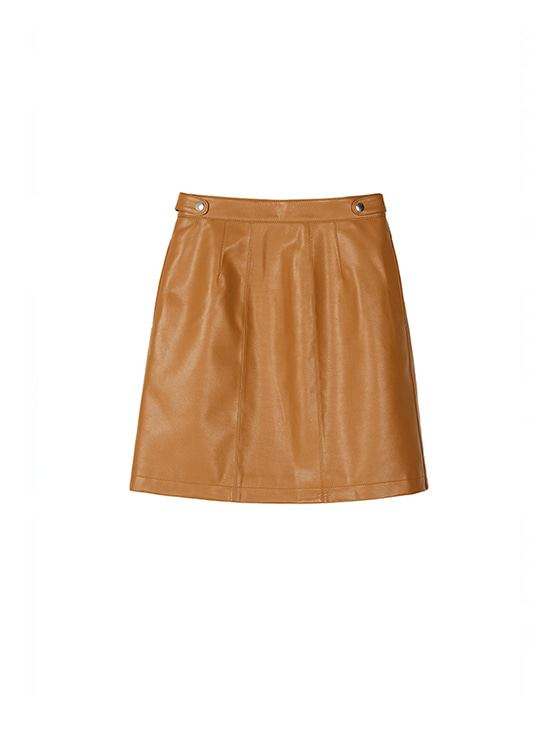 Synthetic Leather Skirt in Brown_VL8AS0310