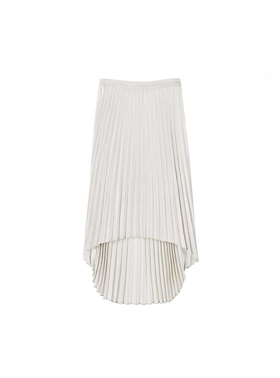 Unbalance Pleats Skirt in L/Grey_VW8AS0710