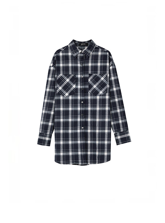 Oversized Check Long Shirt in Navy+Check_VW8AB0510