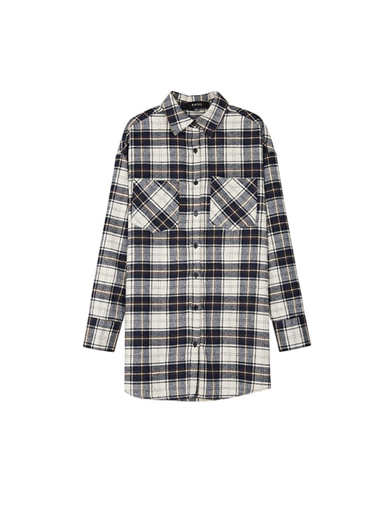 Oversized Check Long Shirt in Brown+Check_VW8AB0510