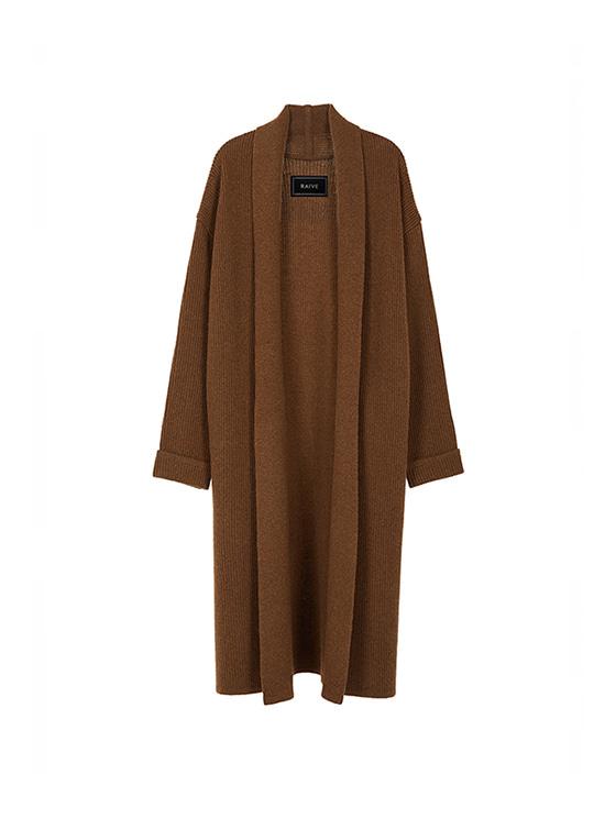 Long Knit Shawl Cardigan in Brown_VK8WD0370