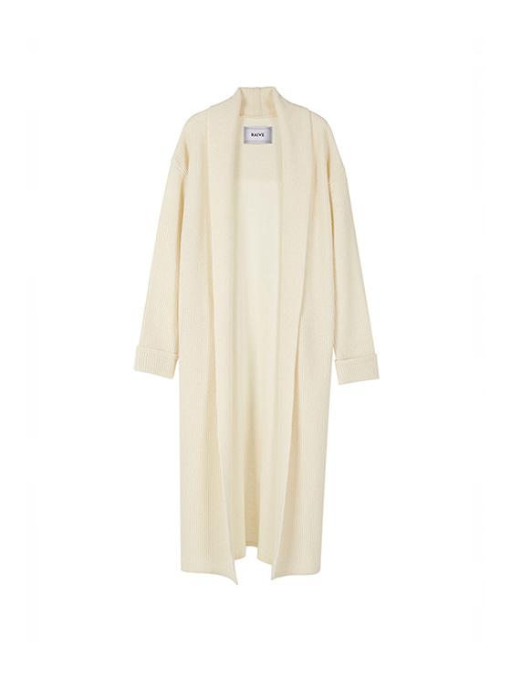 Long Knit Shawl Cardigan in Cream_VK8WD0370